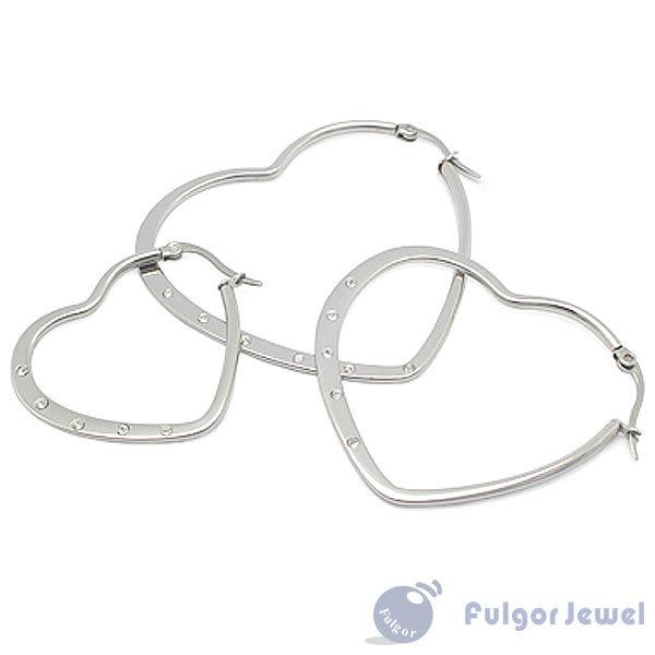 316西德鋼 鋼飾 流行飾品 316 西德鋼 心形晶鑽耳環 耳針卡扣式【Fulgor Jewel】