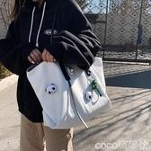 托特包帆布包女側背包包2020新款潮女包大容量簡約托特包韓版學生手提包 COCO