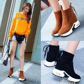 內增高短靴女秋冬季短筒雪地靴鬆糕厚底馬丁靴彈力襪子靴 『夢娜麗莎精品館』
