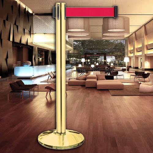 【企隆 圍欄 飯店用品】豪華鍍鈦伸縮欄柱(錐盤)/E85AT 開店/欄柱/紅龍柱/排隊/動線規劃