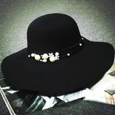 禮帽-英倫風珍珠花朵優雅毛呢女帽子6色72b42[巴黎精品]