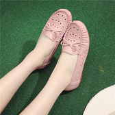 軟底平底鏤空涼鞋 護士鞋白色平跟洞洞鞋【多多鞋包店】z7442