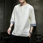 亞麻大碼短袖t恤中國風夏季寬鬆七分半袖上衣胖子【左岸男裝】