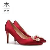 高跟鞋 新款伴娘新娘結婚鞋女尖頭珍珠水鉆細跟單鞋秀禾紅色高跟鞋【新品狂歡】