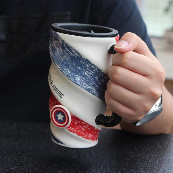 創意簡約辦公室陶瓷個性大容量馬克咖啡杯帶蓋勺男女生家用喝水杯【快速出貨】