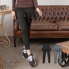 假兩件內搭褲--悠閒的時尚感腰間鬆緊帶蛋糕裙假兩件式長褲(黑.灰S-2L)-P84眼圈熊中大尺碼