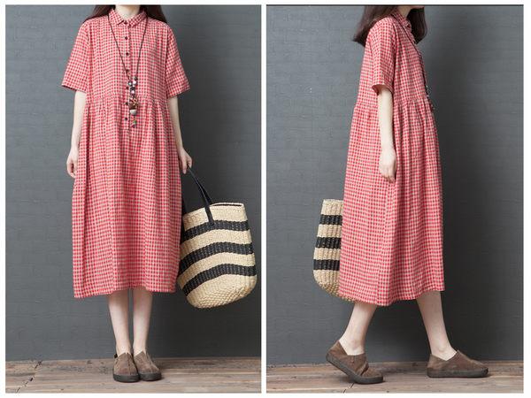 花兔子服飾棉麻材質格紋經典長裙