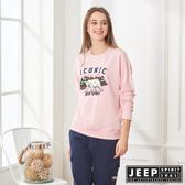 【JEEP】森林探險立體刺繡長袖TEE-男女適穿-粉