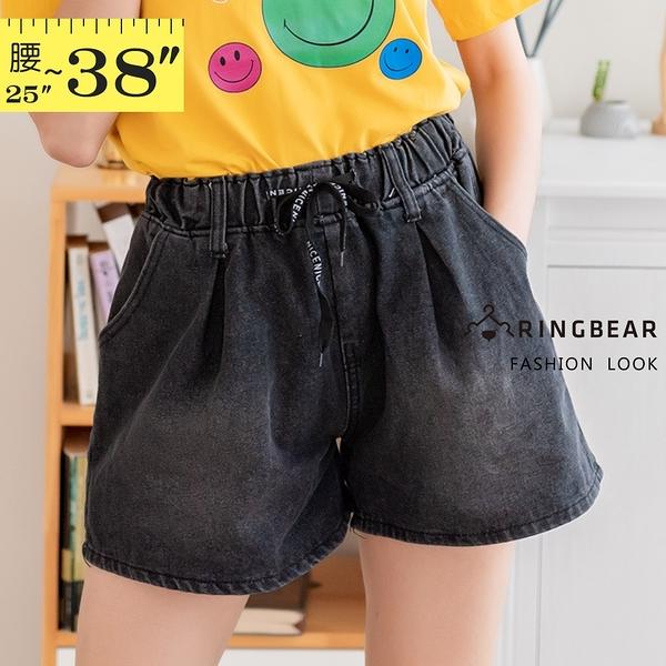 牛仔短褲--舒適顯瘦高腰A字抽繩鬆緊褲頭刷色牛仔褲裙(黑M-5L)-R255眼圈熊中大尺碼