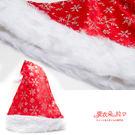 D017 紅色絨布+銀色雪花-質感絕佳甜美聖誕帽