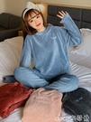 熱賣法蘭絨家居服 珊瑚絨睡衣女秋冬季加厚法蘭絨加絨冬天可外穿家居服暖暖褲套裝女 coco
