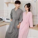 情侶款一對浴袍女長款春秋薄款晨袍男士睡袍冰絲睡衣吸水浴衣夏季 果果輕時尚