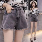 牛仔短褲新款時尚寬鬆闊腿褲復古黑色短褲潮女  XY2385  【男人與流行】