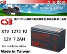 久大電池 神戶電池 CSB電池 XTV1272 F2 12V7.2Ah 通用NP7-12 UPS不斷電系統專用電池