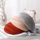 畫家帽 造型帽 貝雷帽女秋冬韓版百搭羊毛呢蓓蕾帽英倫復古南瓜帽日系畫家帽子潮
