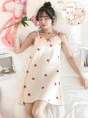冰絲睡衣 帶胸墊睡裙女士夏季吊帶薄款冰絲韓版睡衣夏天甜美可愛學生家居服 米家