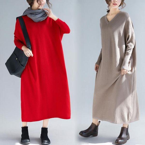 實拍秋季女裙子新款長款大尺碼寬鬆長袖針織洋裝連身裙秋季毛衣長裙洋裝 618降價