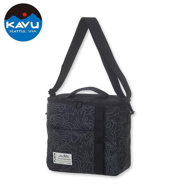 【西雅圖 KAVU】Snack Sack 時尚保冷袋 黑色等高線 #9055