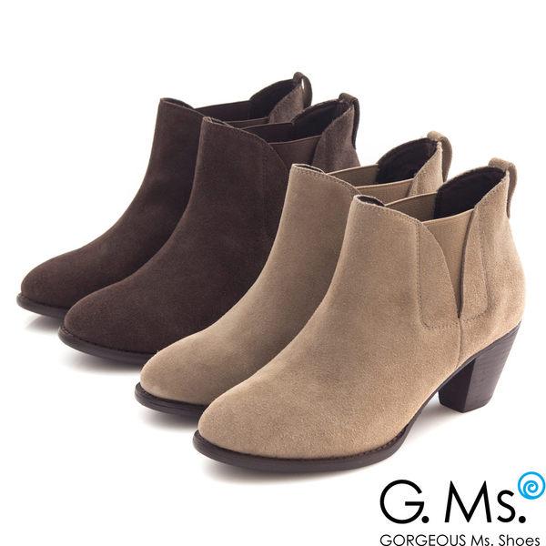 G.Ms. 牛麂皮拼接鬆緊帶造型粗跟踝靴*深咖啡