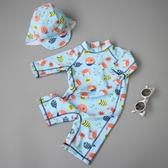 店長推薦 兒童泳衣男童潮韓國可愛小寶寶嬰兒度假防曬速干連身泳裝泳褲溫泉