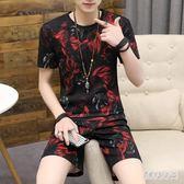 休閒套裝男 2019夏季新款潮流短款兩件運動套裝 QW2041『俏美人大尺碼』