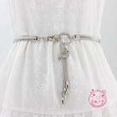 腰封 腰帶女裝飾配裙子連衣裙金屬彈力鬆緊細優雅百搭水鉆吊墜腰鏈