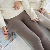 春秋冬季保暖加絨螺紋打底褲女外穿薄款黑灰色內穿秋褲加厚棉褲襪 安雅家居館