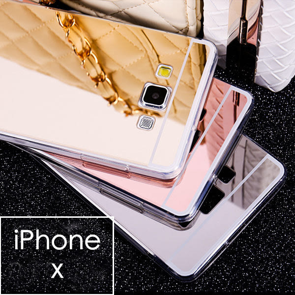 【03365】 [Apple iPhone X] 自拍鏡面電鍍TPU軟殼 鏡子手機殼