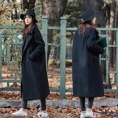 黑色外套大衣【加厚】 高質感有型 中長版毛呢外套 大衣
