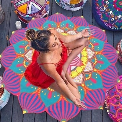 防曬披肩-多邊形可愛多彩蓮花多用途戶外沙灘巾2色73mu28【時尚巴黎】