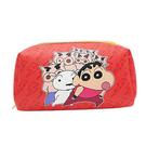 紅色款【日本進口】蠟筆小新 野原新之助 皮革 化妝包 收納包 筆袋 鉛筆盒 防潑水 - 151028