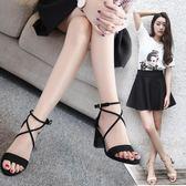 涼鞋女中跟高跟鞋2019新款夏季韓版百搭學生粗跟一字扣帶羅馬女鞋