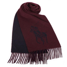 RALPH LAUREN POLO 經典大馬圖徽保暖圍巾(酒紅色)780913-5