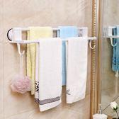 deHub毛巾架免打孔衛生間掛架免釘掛鉤浴室抹布架子吸盤式毛巾桿