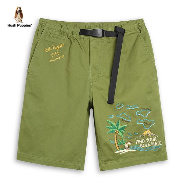 Hush Puppies 短褲 男裝熱帶島嶼刺繡休閒短褲