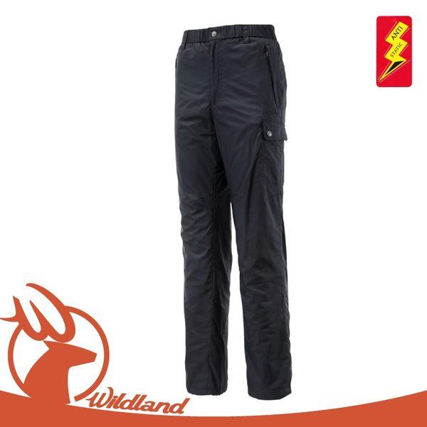 【Wildland 荒野 男 鬆緊帶輕量保暖褲《黑》】0A12336/抗靜電/抗菌抑臭/刷毛
