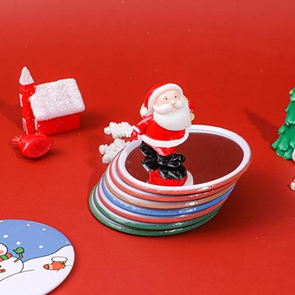 【BlueCat】迷你聖誕圓形卡通小鏡子 隨身鏡 化妝鏡 交換禮物 圓鏡 馬口鐵