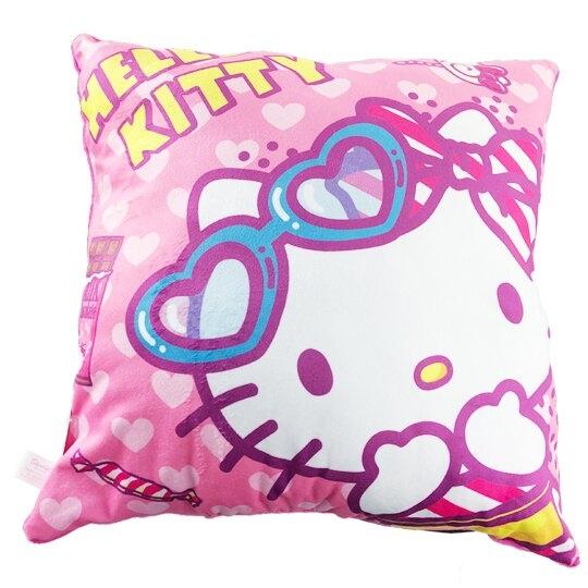 小禮堂 Hello Kitty 抱枕 靠墊 午睡枕 枕頭 方形絨毛 (桃 墨鏡) 4710374-18561