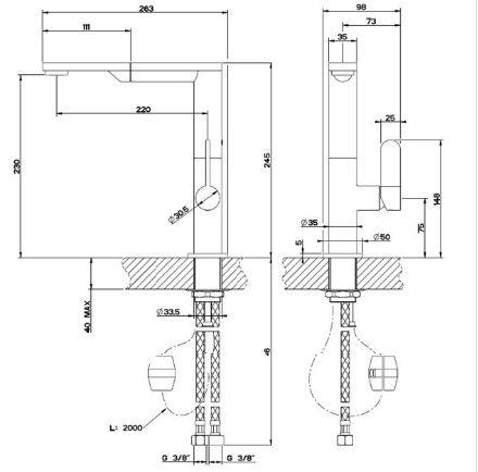 【系統家具】GESSI 義大利  17073 廚房檯面式伸縮龍頭