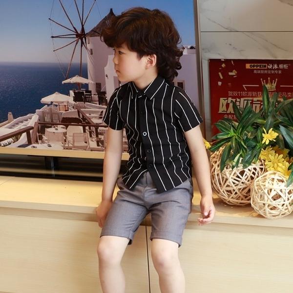 衣童趣♥韓版中大男童 黑/白 條紋襯衫 夏日短袖襯衫上衣 表演 花童短袖上衣