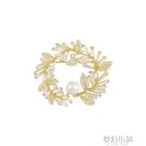 璀璨葉子珍珠胸針女高檔可愛日系ins潮個性別針衣領扣防走光配飾 夢幻小鎮