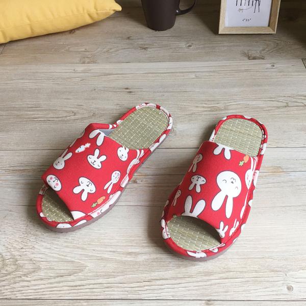【iSlippers】小日常-MIT真草蓆拖-可愛兔兔-紅