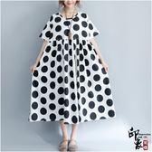 大尺碼洋裝寬鬆大尺碼女韓版短袖中長款連身裙 618降價