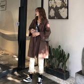 毛呢大衣女秋冬新款韓版寬松中長款西裝呢子外套學生「爆米花」