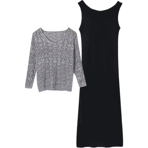 套裝上衣女2019春夏新款潮蝙蝠袖針織衫鏤空毛衣吊帶兩件套連衣裙 快速出貨