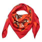 HERMES Monsieur Et Madame De男女剪影披肩方型絲巾(橘紅色)179168