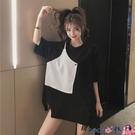 熱賣假兩件上衣 原宿風大碼女裝短袖T恤2021新款韓版寬鬆撞色假兩件半袖體恤上衣 coco