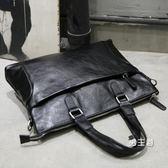 公事包電腦包手提包男包手提包男士單肩斜背包皮包電腦包橫款商務公文包正韓