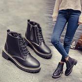 短靴女 鞋子女秋冬季新款短靴女粗跟馬丁靴女英倫風復古學生平底單靴女鞋 全館免運
