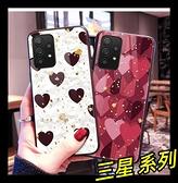 【萌萌噠】三星 Galaxy A52 (5G) 奢華時尚閃粉鉑金 心心豹紋保護殼 全包軟邊 鋼化玻璃 手機殼 手機套